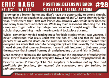 Defensive Back - Christian Testimony